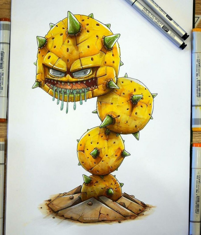 monster creative drawings by tino valentin hopic
