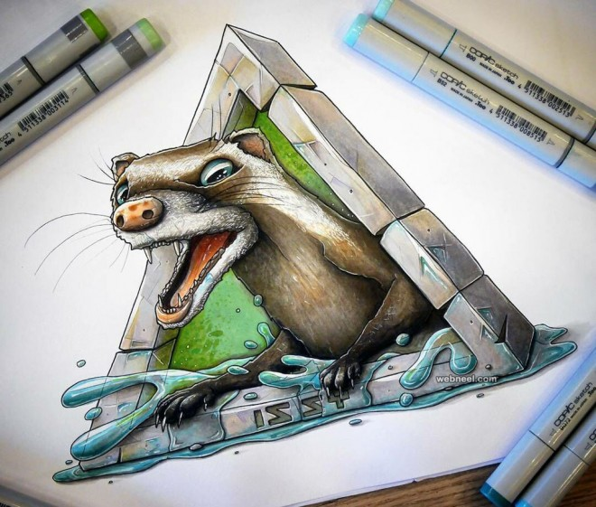 animal creative drawings by tino valentin hopic