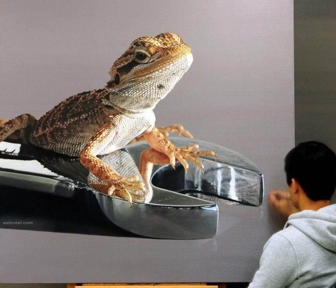 chameleon hyper realistic painting by youngsungkim