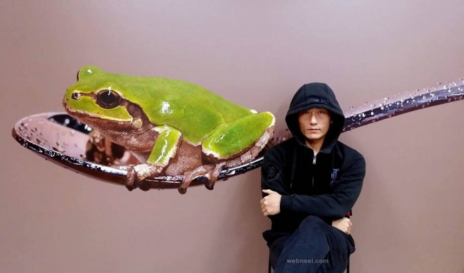 frog spoon hyper realistic painting by youngsungkim
