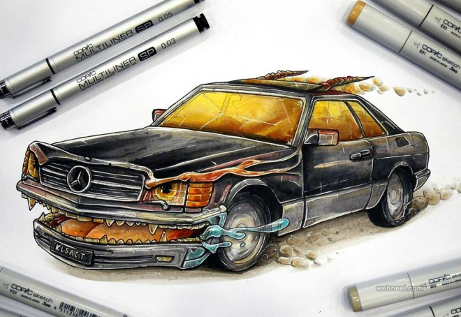 flaming car creative drawings by tino valentin hopic