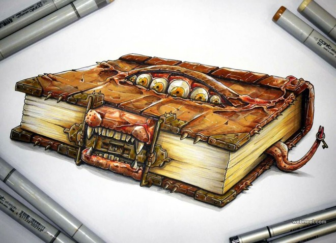 monster book creative drawings by tino valentin hopic