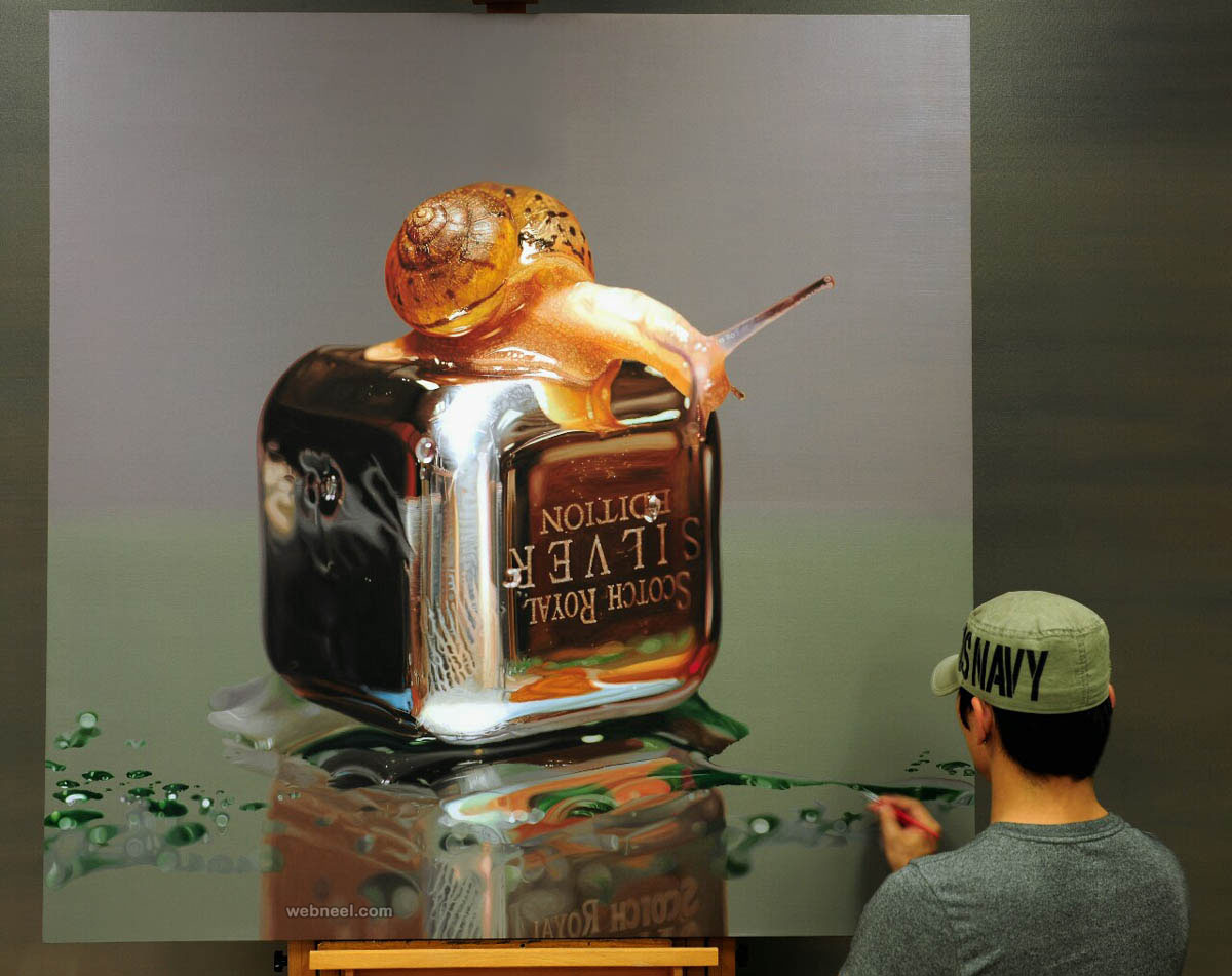 snail hyper realistic painting by young sung kim