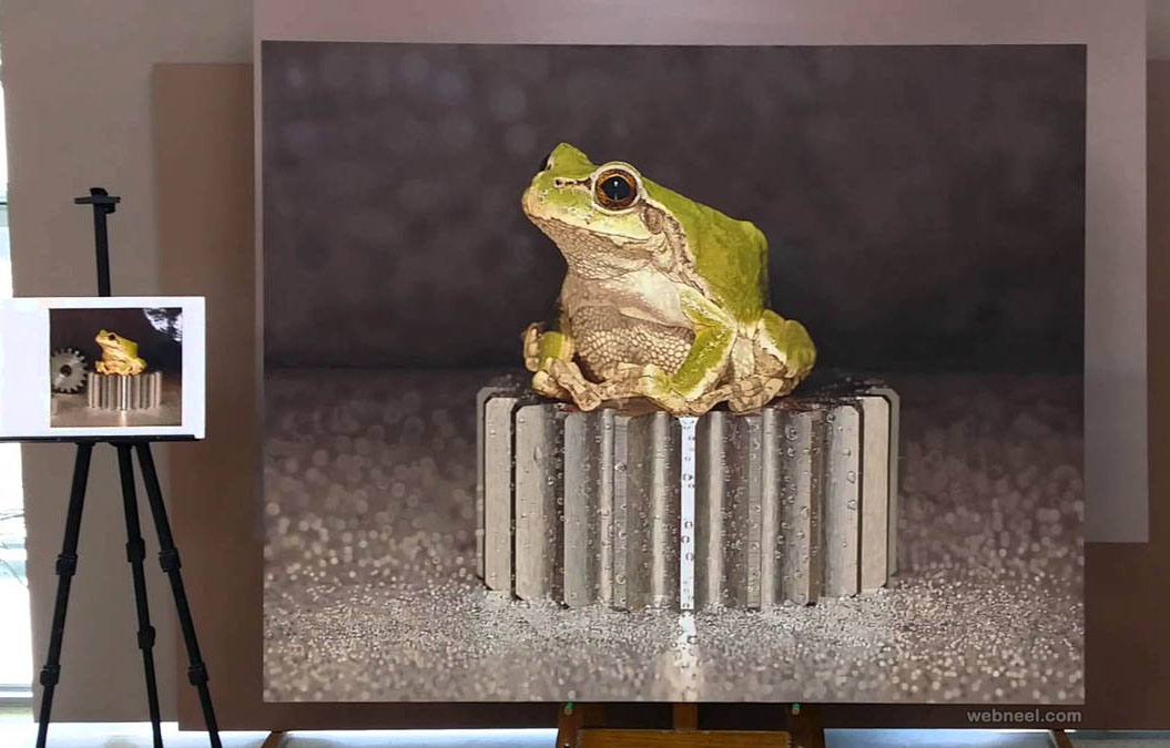 frog hyper realistic painting