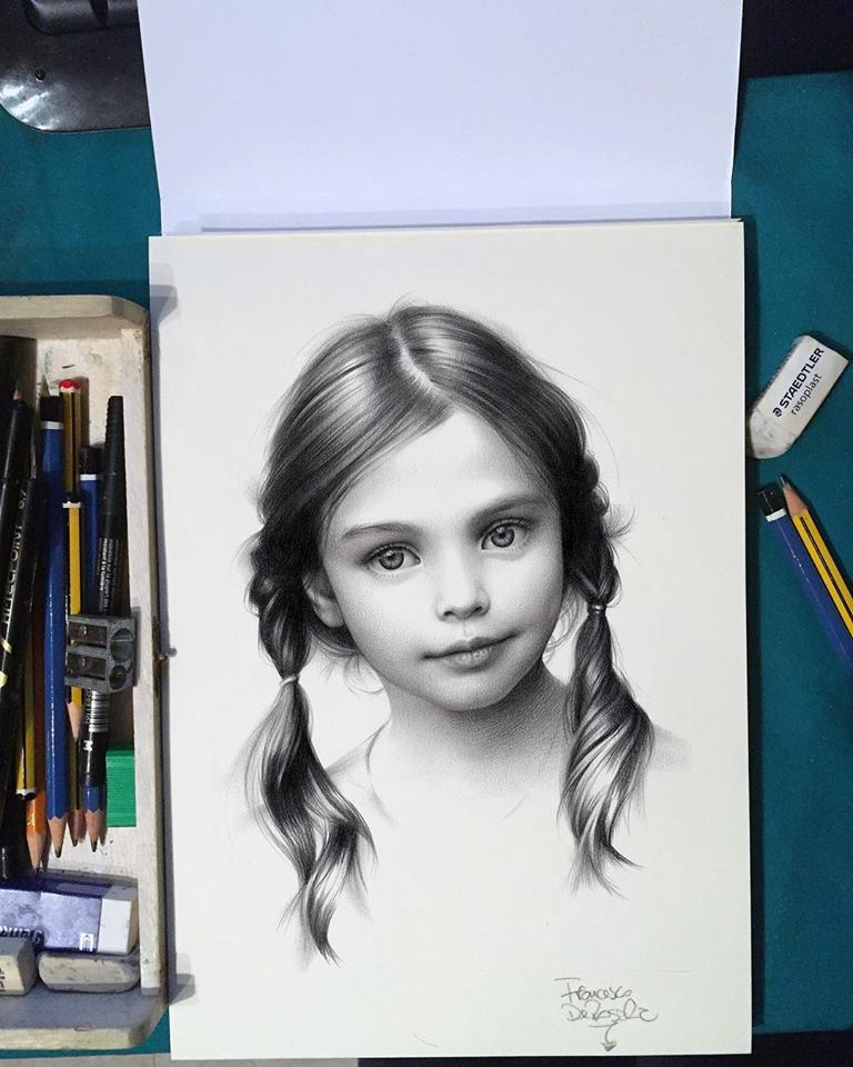 Girl Realistic Drawing By Fraderos