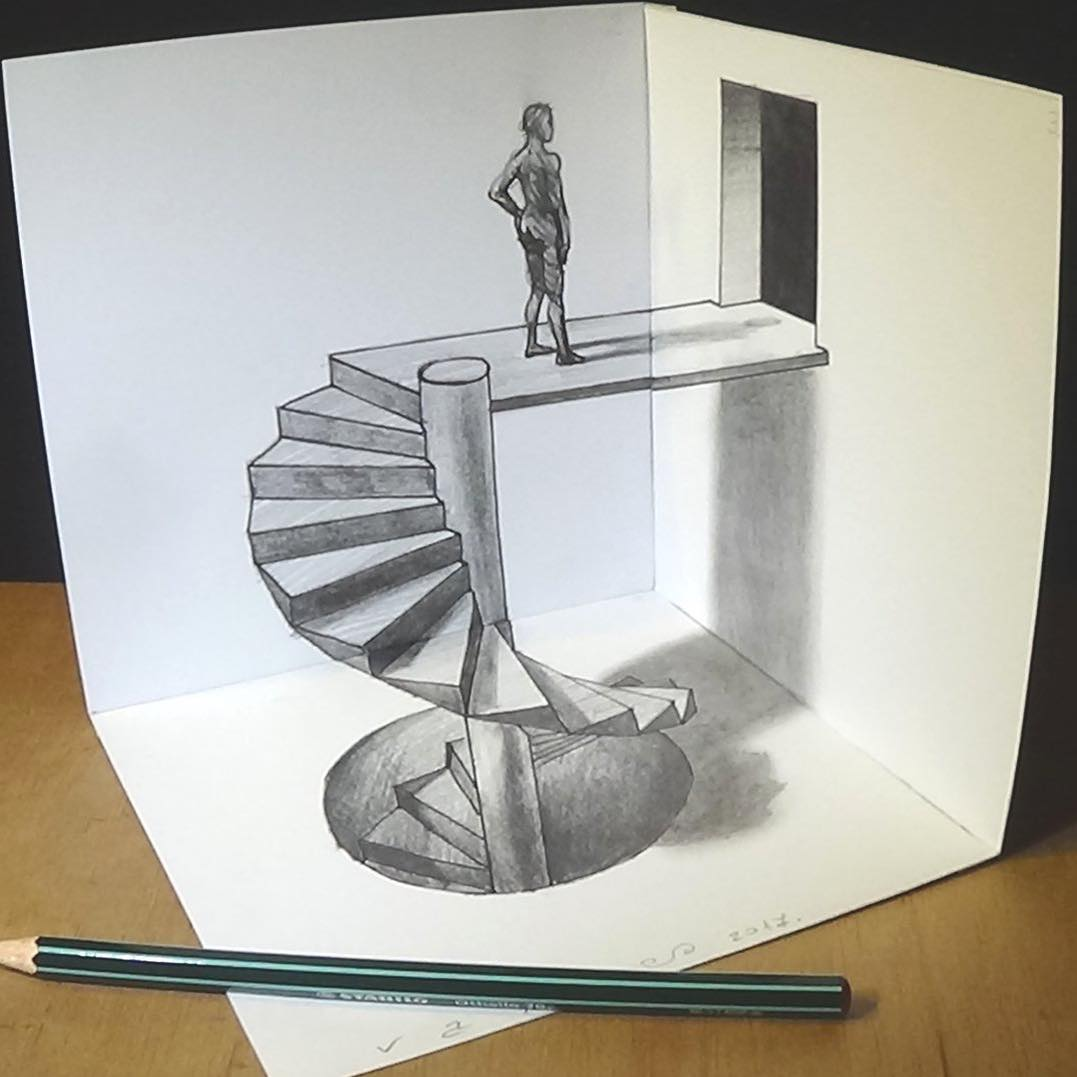 spiral stairs 3d drawing by sandor vamos
