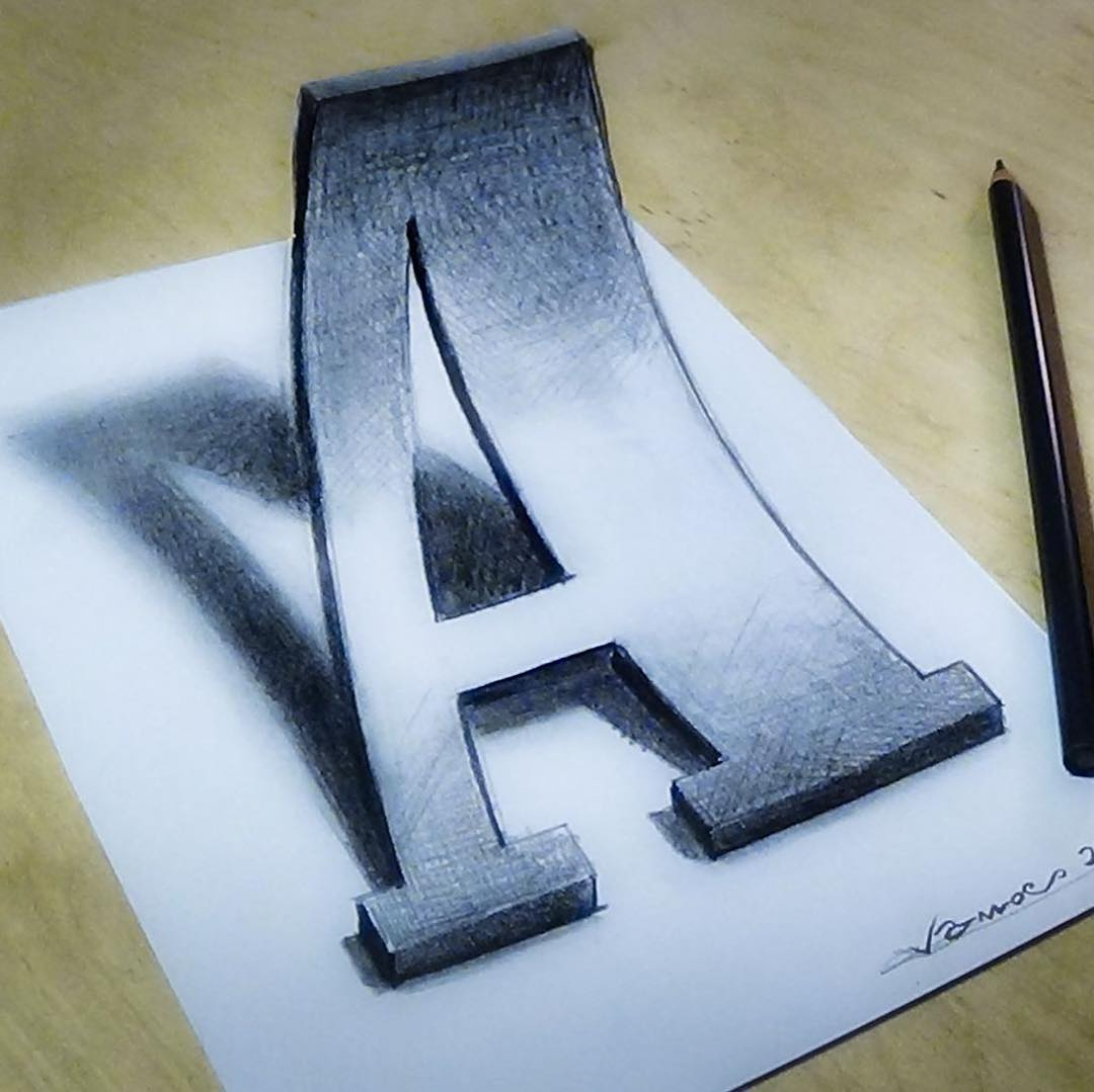 alphabet 3d drawing by sandor vamos