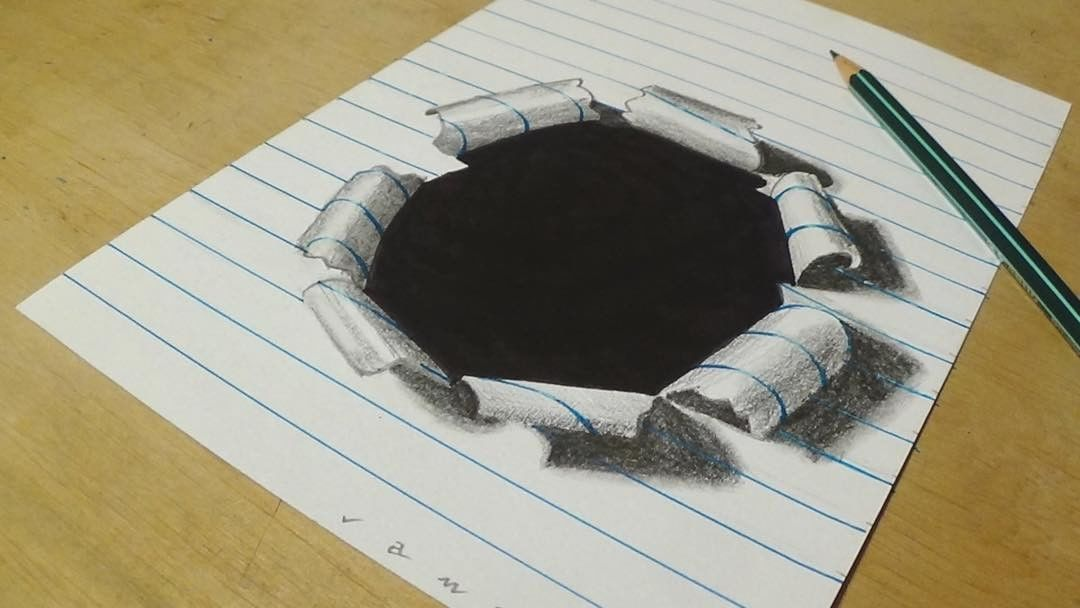 hole paper 3d drawing by sandor vamos
