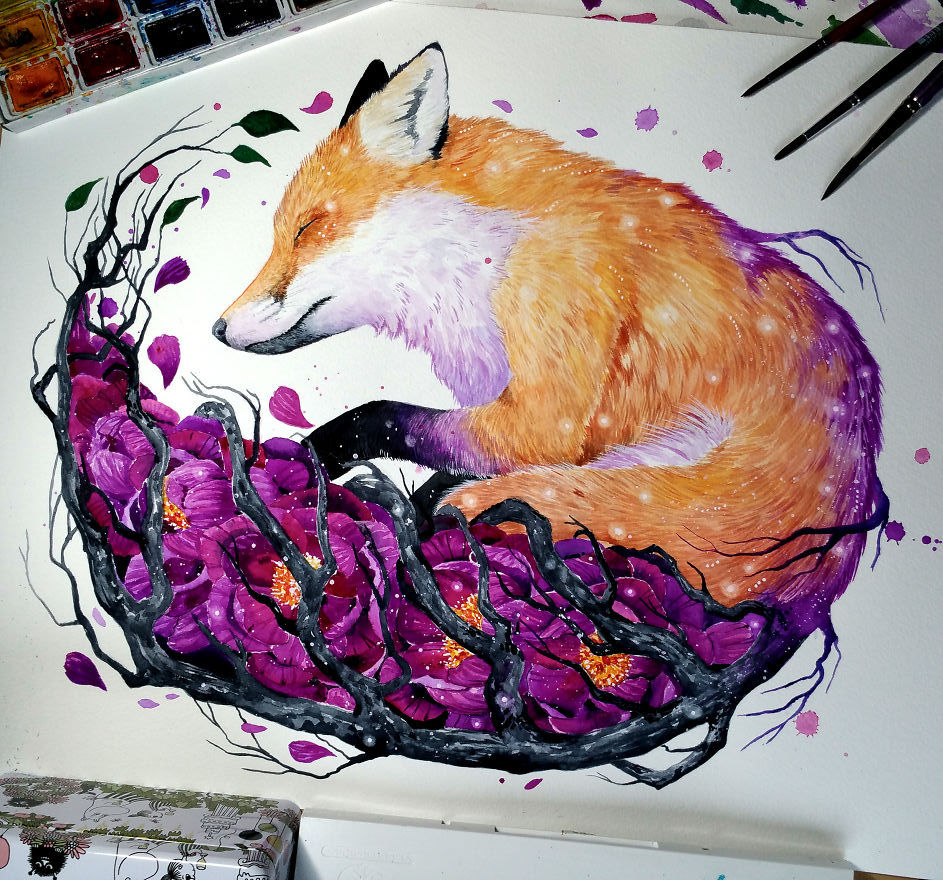watercolor paintings fox by jonna hyttinen