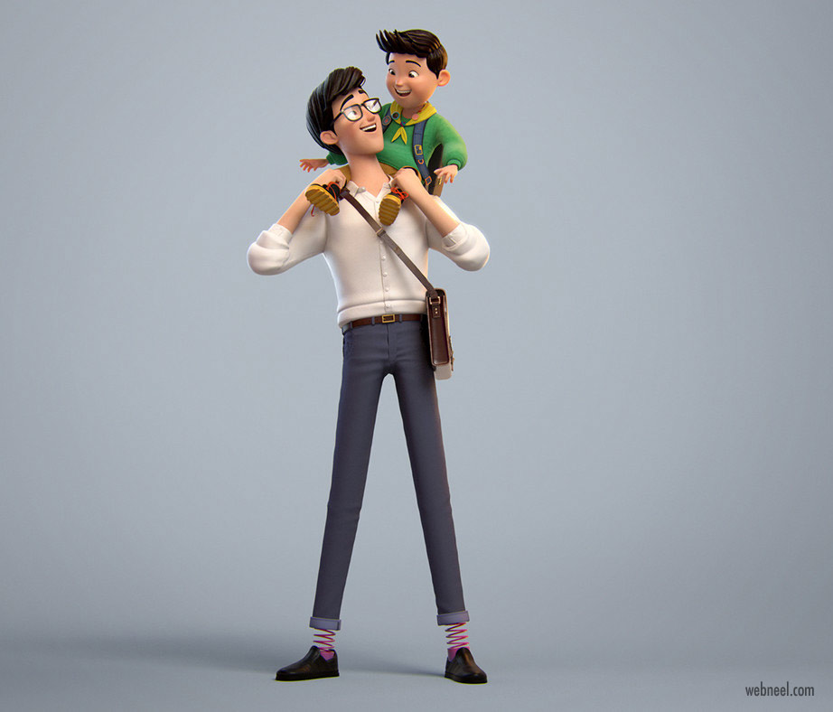funny 3d character design model dad son boy by elijah akouri
