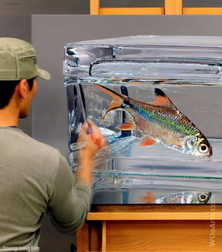 hyper realistic paintings fish by young sung kim