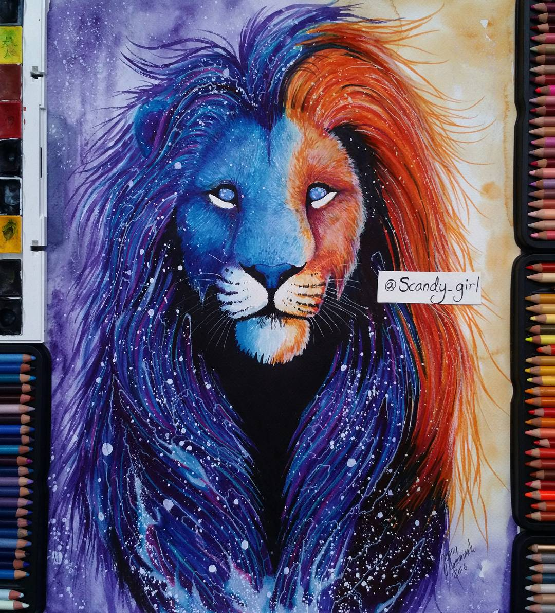 watercolor paintings colorlion by jonna hyttinen