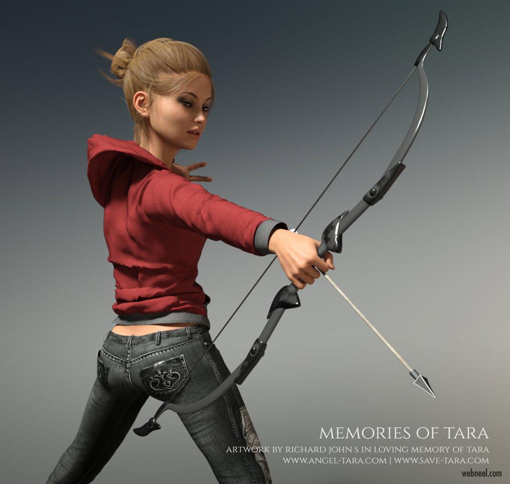 daz3d model archery girl by richard john