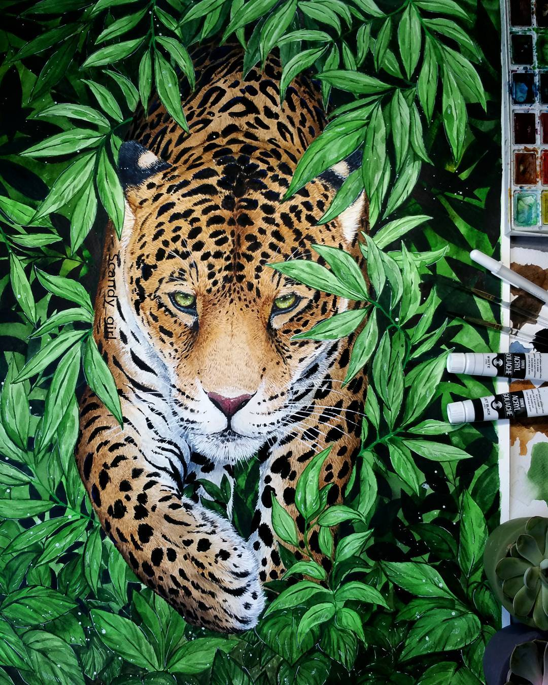 watercolor paintings jaguar by jonna hyttinen