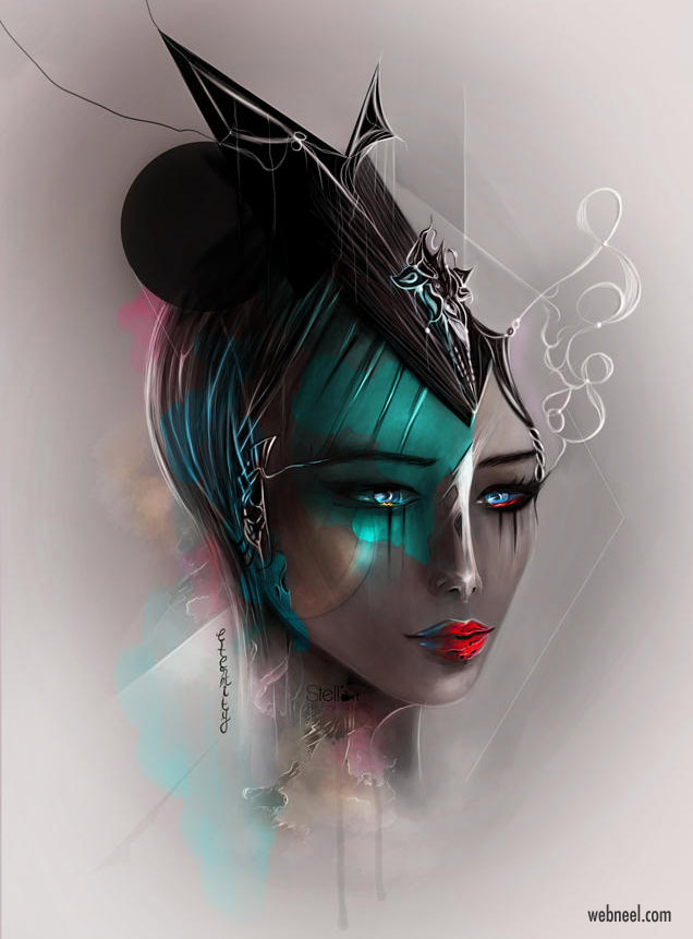 digital painting woman by stellart