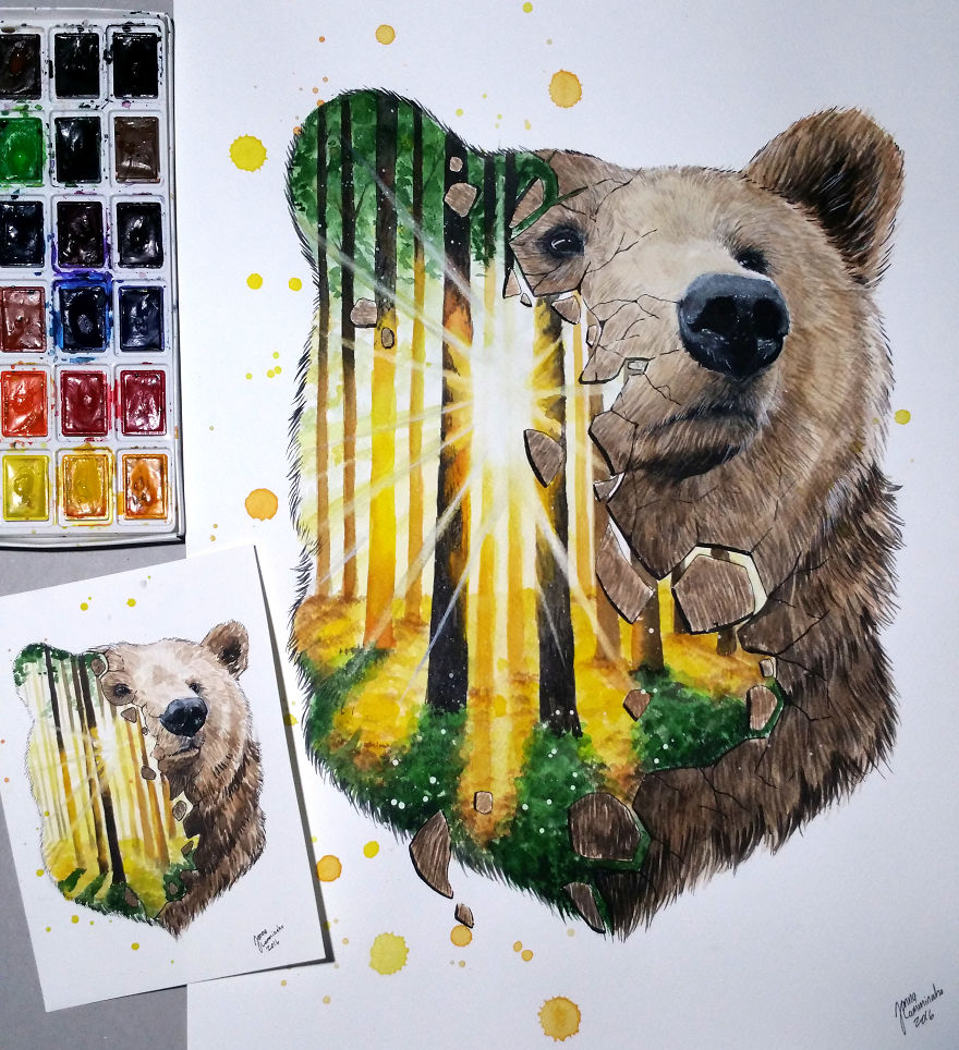 2watercolor paintings bear