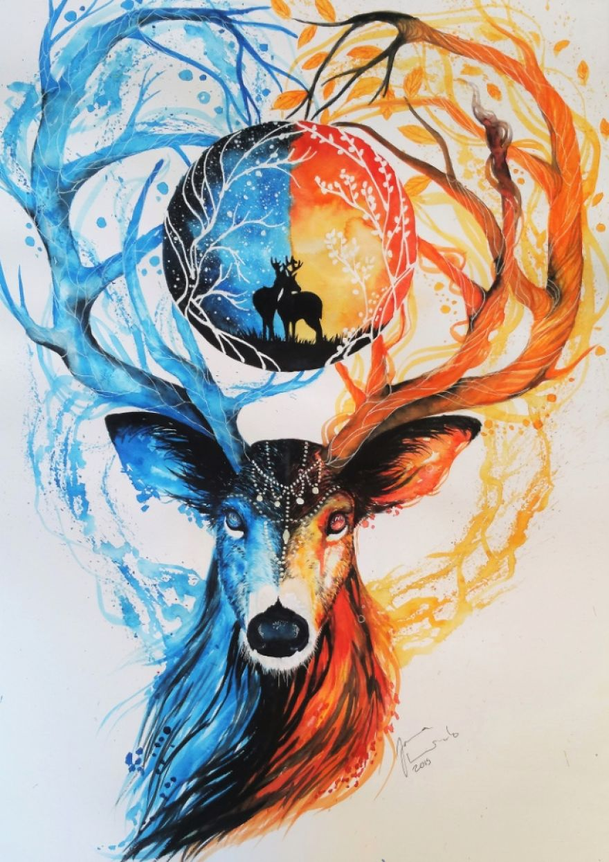 watercolor paintings deer by jonna hyttinen