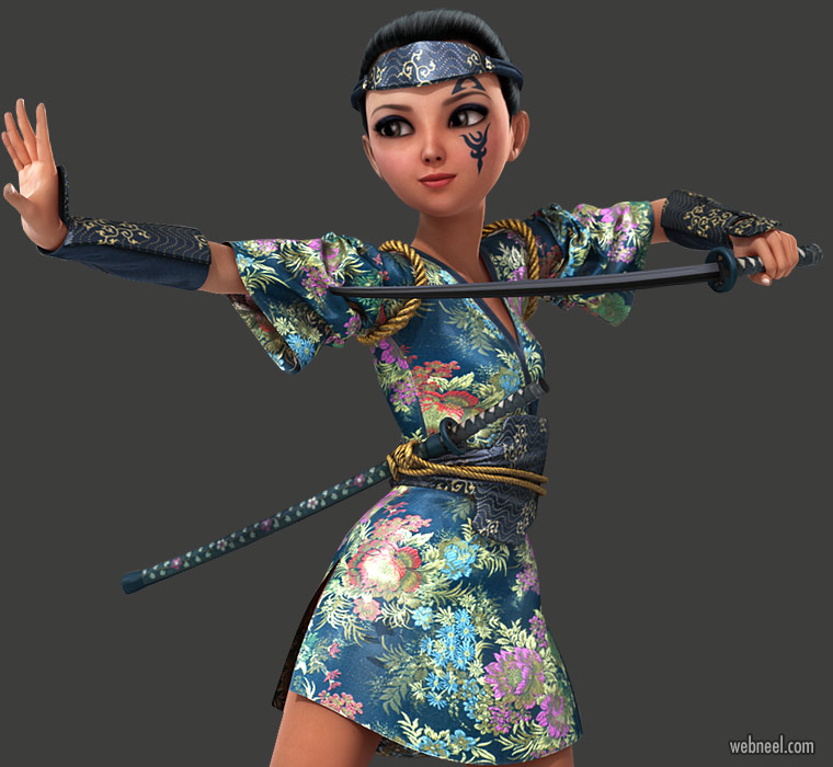daz3d model woman fighter cartoon