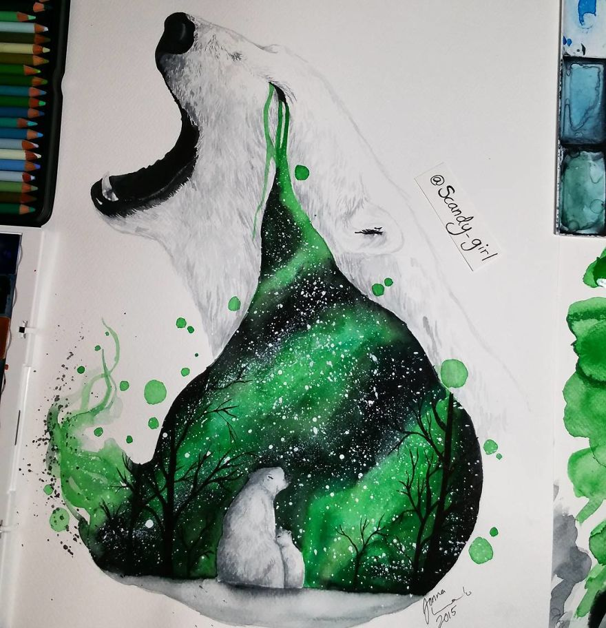 watercolor paintings polarbear by jonna hyttinen