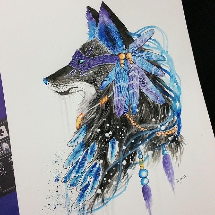 watercolor paintings bluewolf