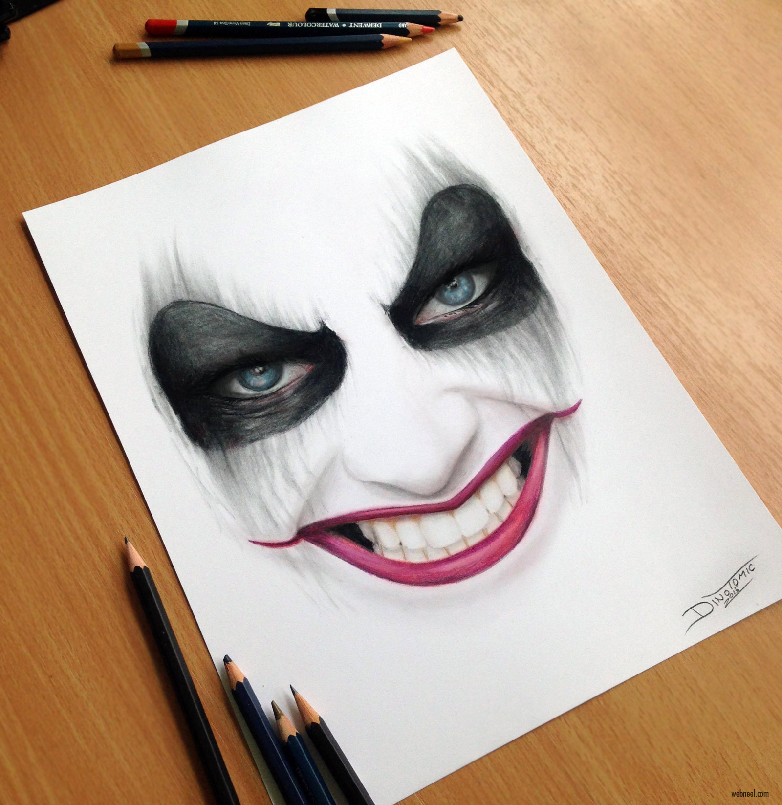 color pencil drawing harley quinn by atomiccircus