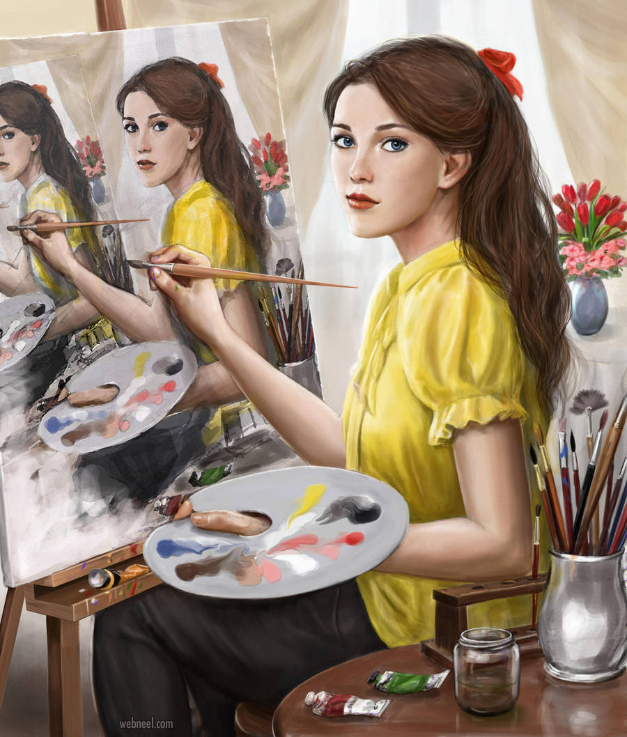 painting girl droste effect by dashinvaine