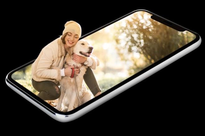 3d photography app girl hugging dog