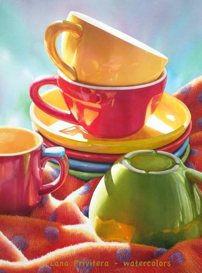 still life watercolor painting cups