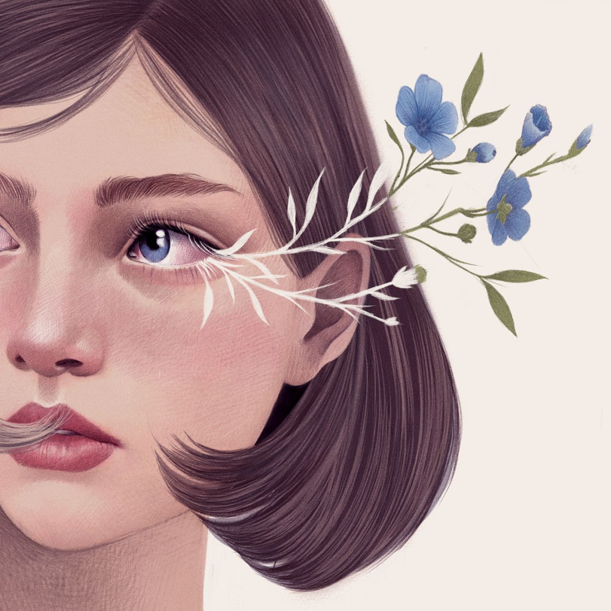 digital illustration woman portrait by mercedes debellard