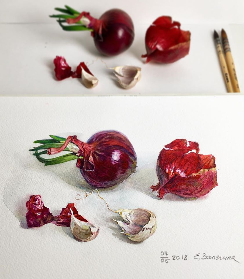 hyper realistic painting onion