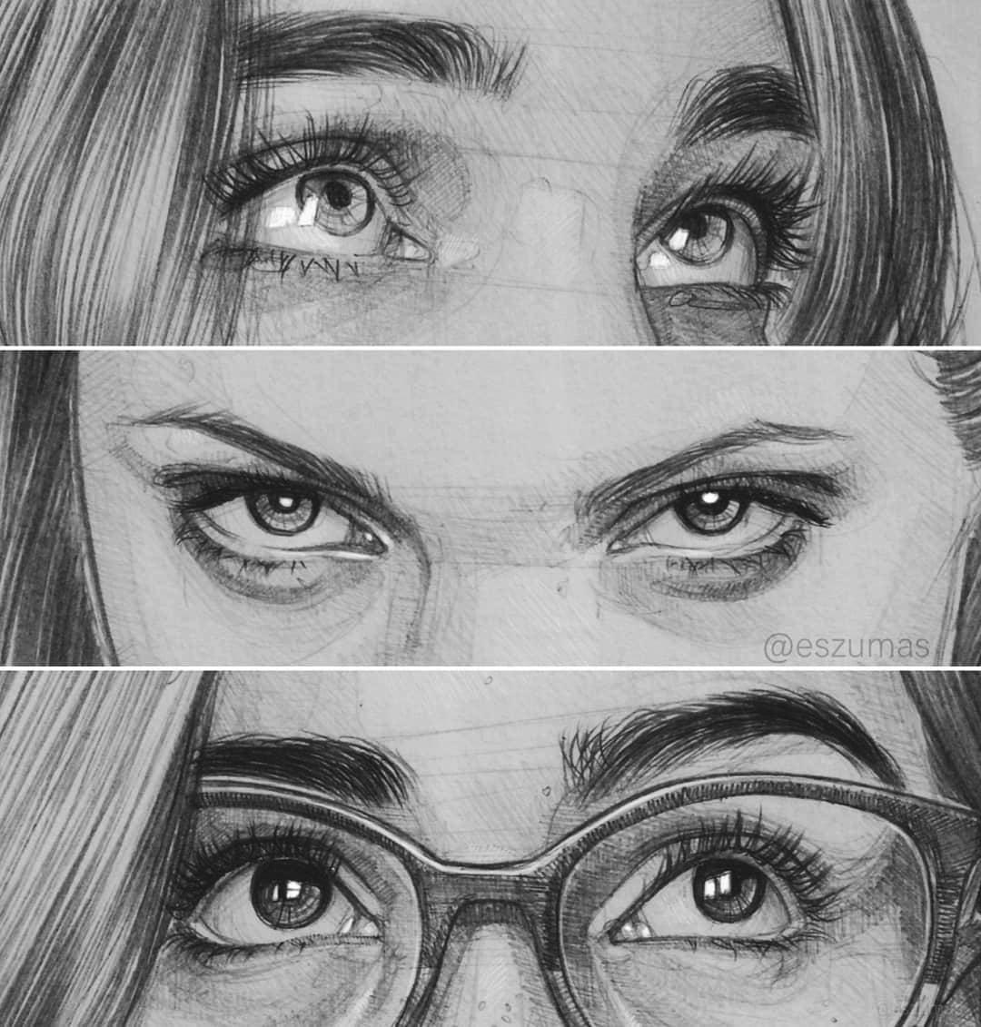 portrait pencil drawing eyes by eszumas
