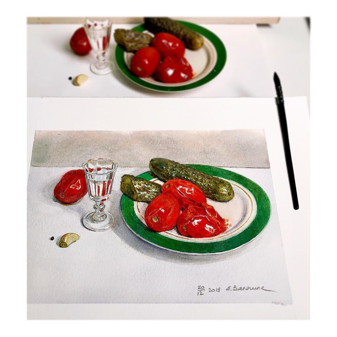 hyper realistic painting pickle by lizalegina