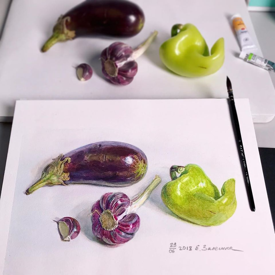 hyper realistic painting vegetable