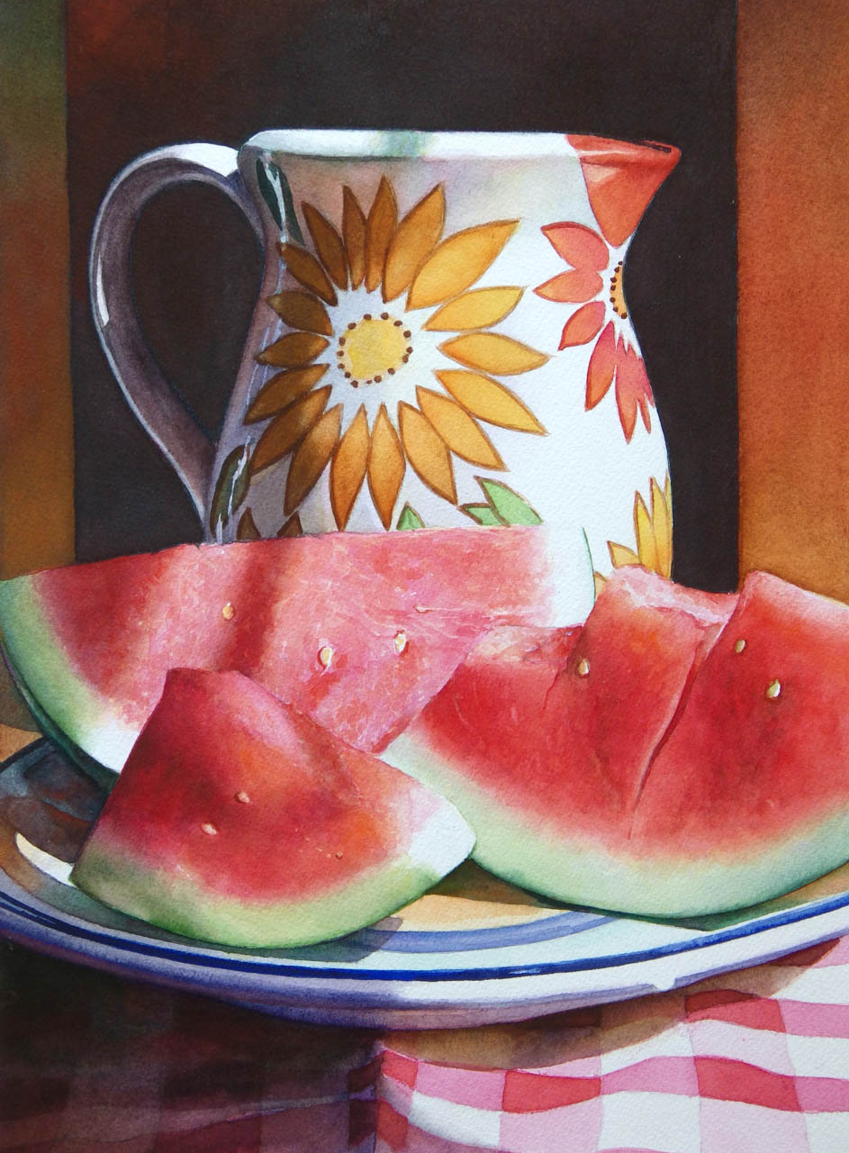 still life watercolor painting watermelon by lana matich privitera