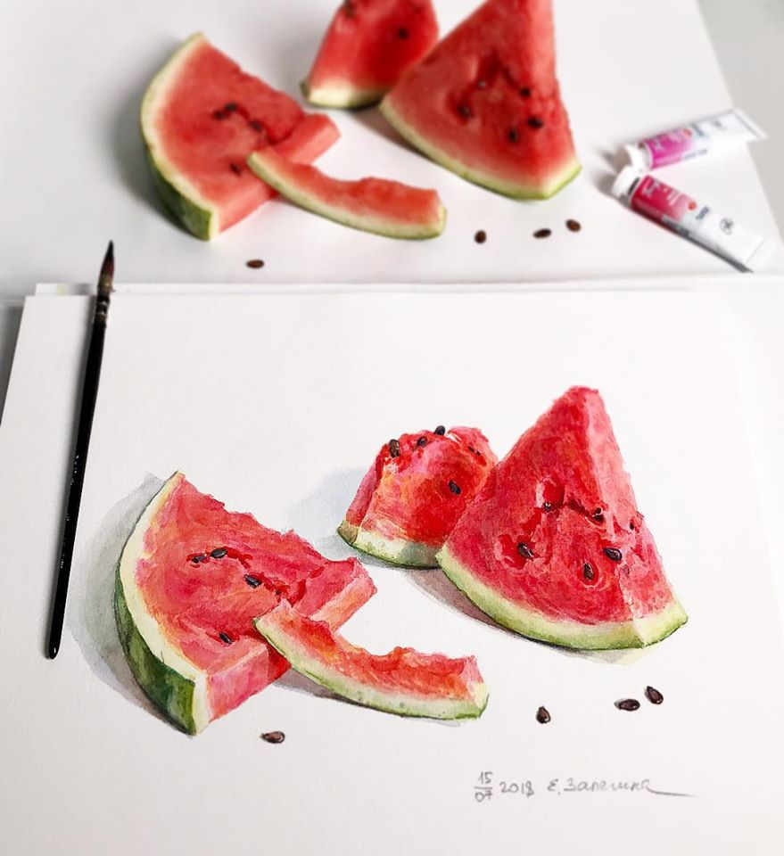 hyper realistic painting watermelon