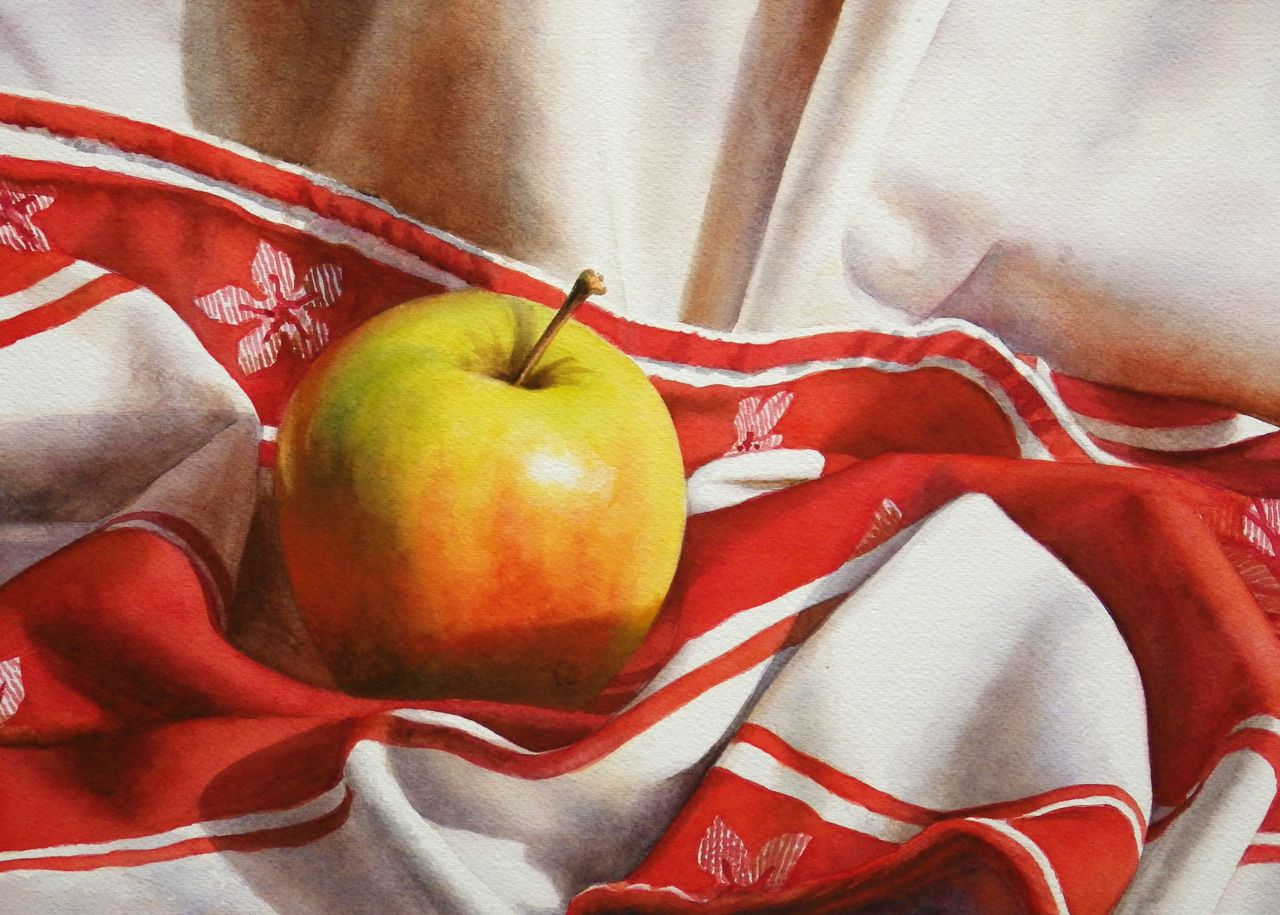 still life watercolor painting apple