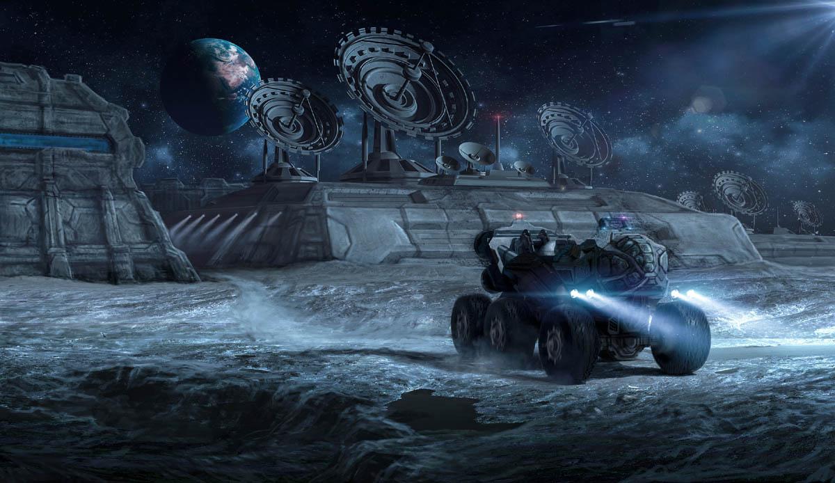 matte painting digital art moon base