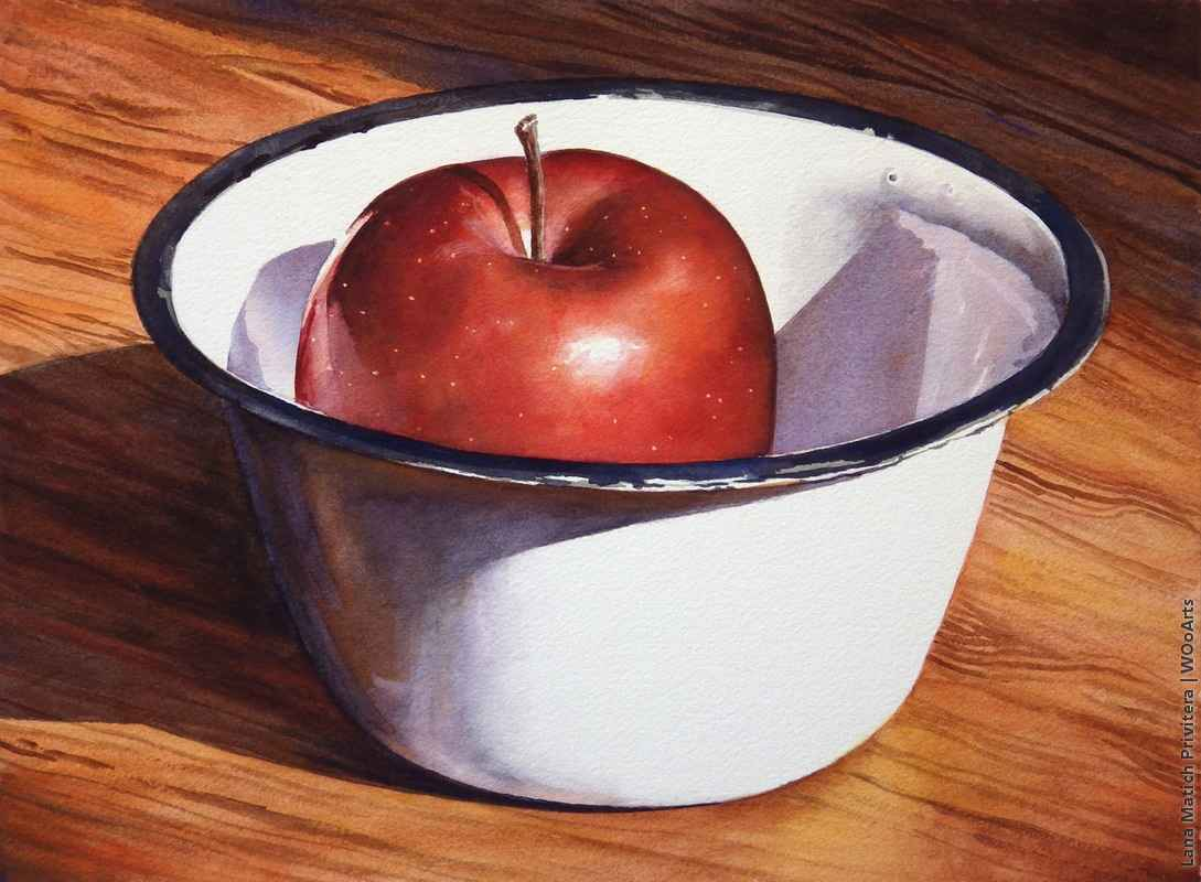 still life watercolor painting bowl apple by lana matich
