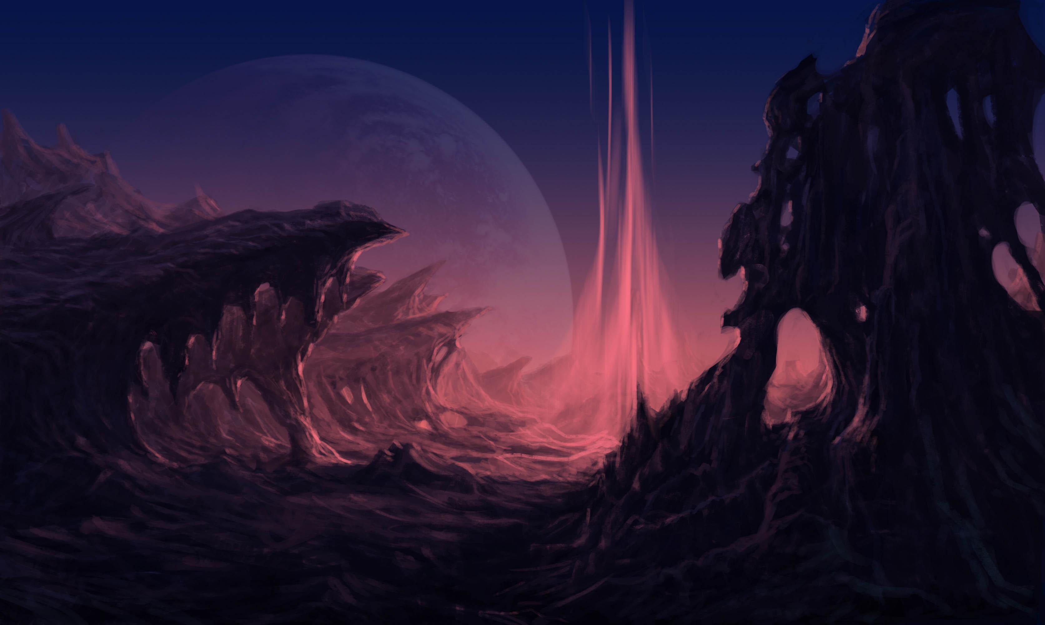 matte painting digital art alien planet