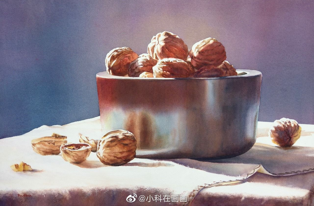 still life watercolor painting walnut by lana matich privitera