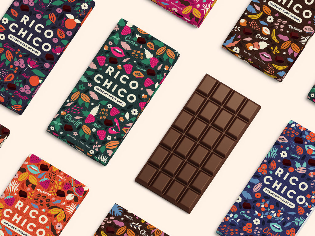 colorful packaging design chocolate rico
