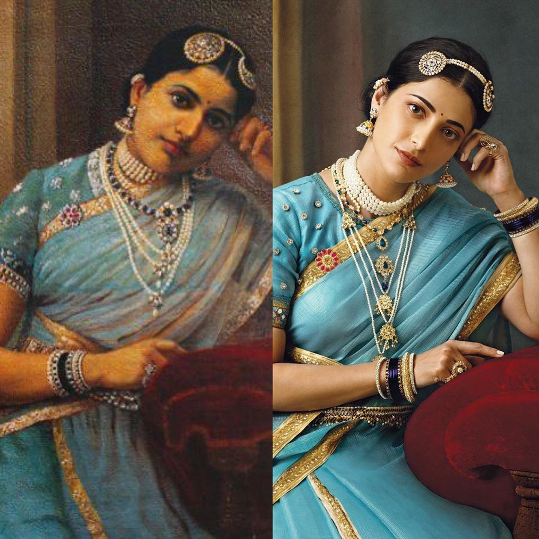 photography raja ravi varma paintings shruti blue sari venket ram