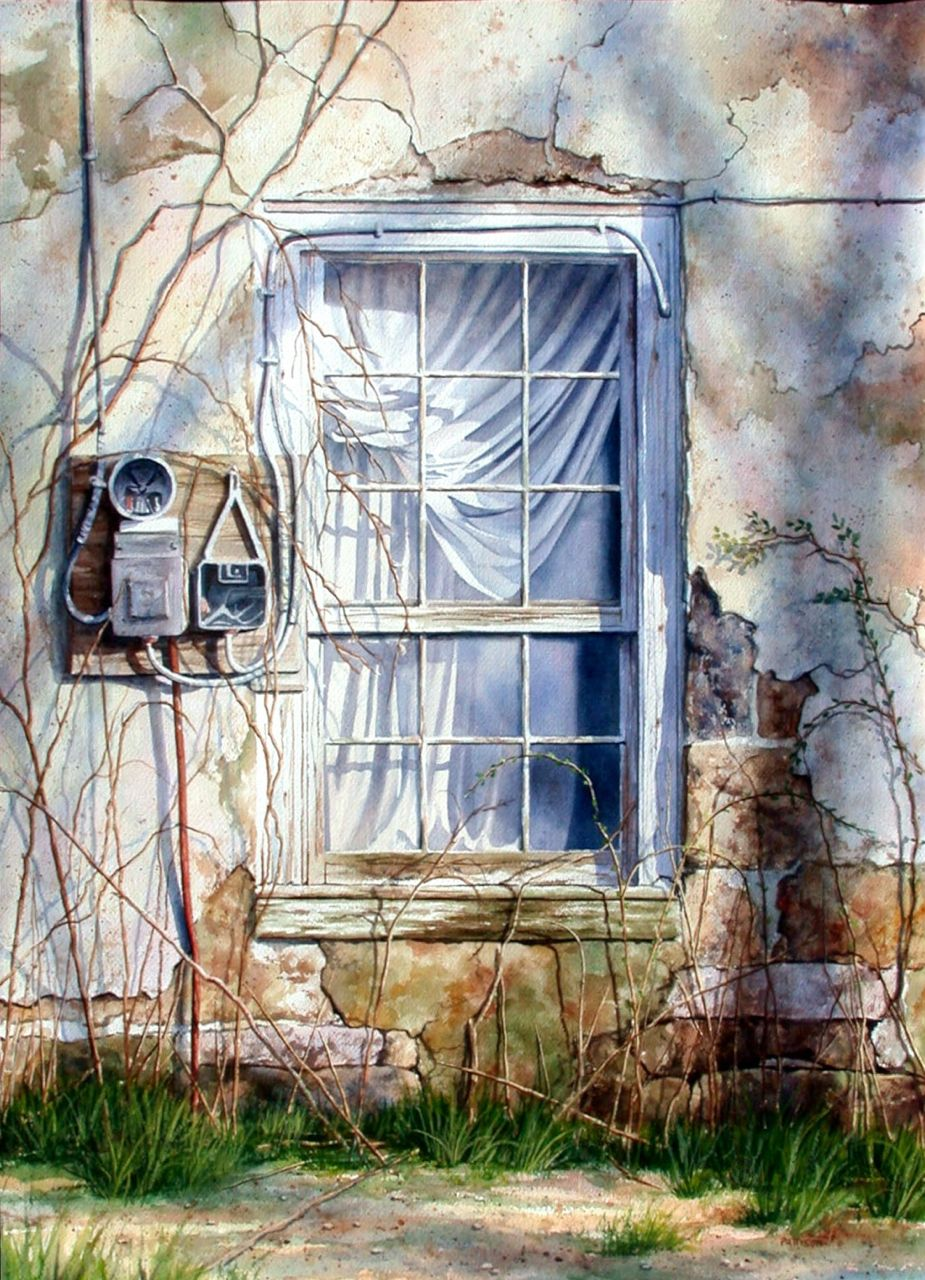 still life watercolor painting window