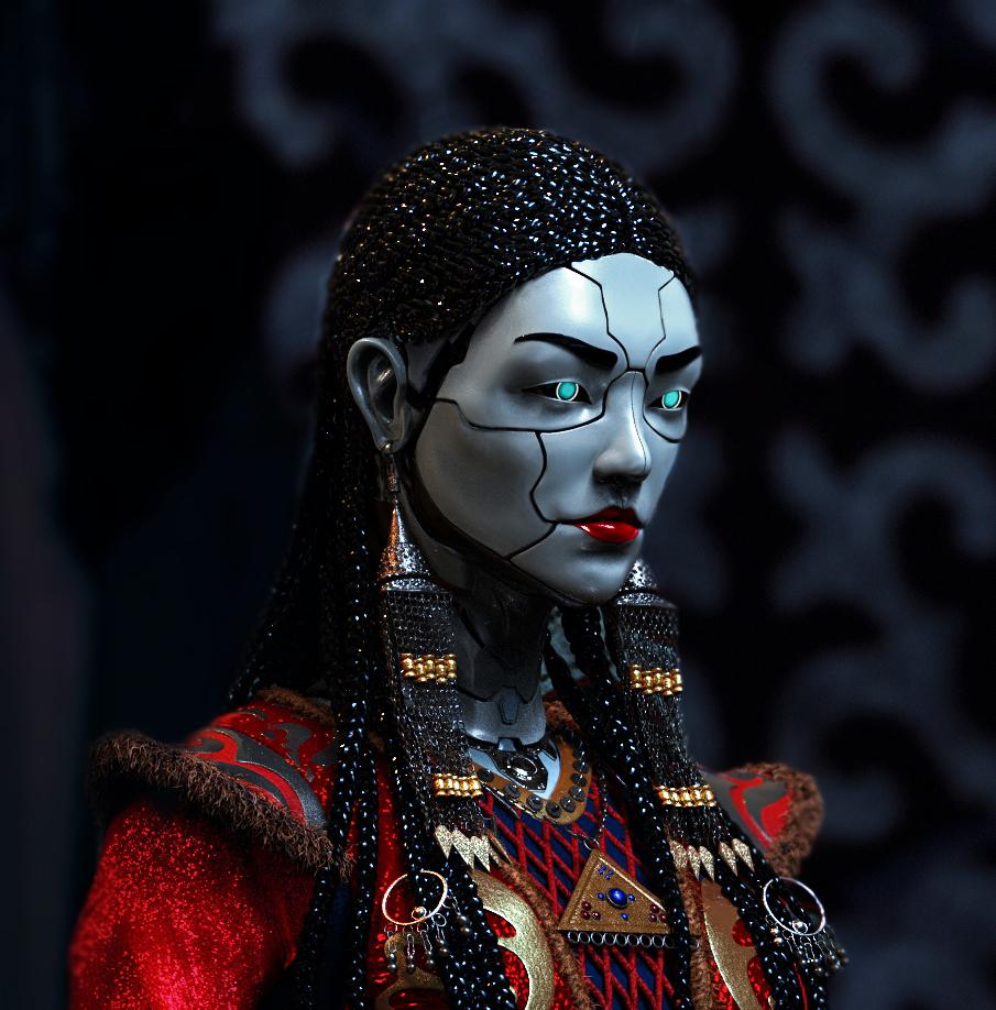 3d model concept art lady