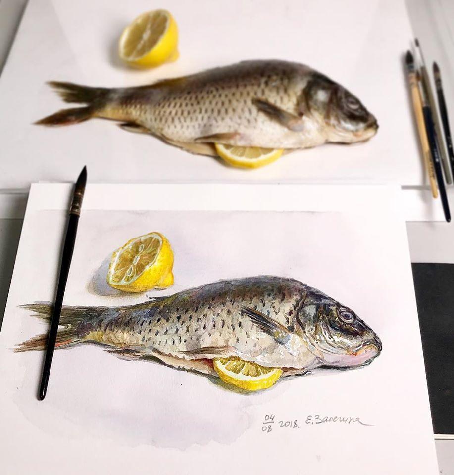 hyper realistic painting fish by lizalegina