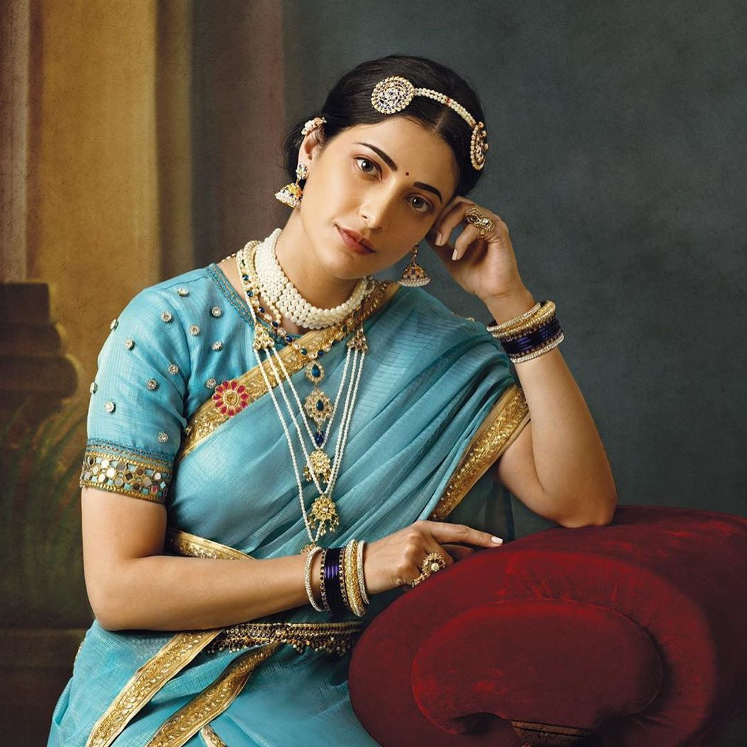 photography raja ravi varma paintings shruti solo blue sari venket