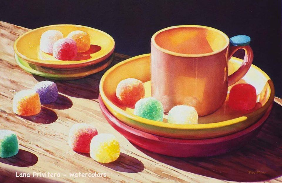 still life watercolor painting sugar candy by lana matich privitera