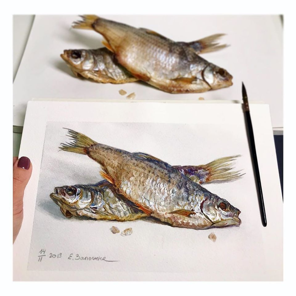 hyper realistic painting fishes
