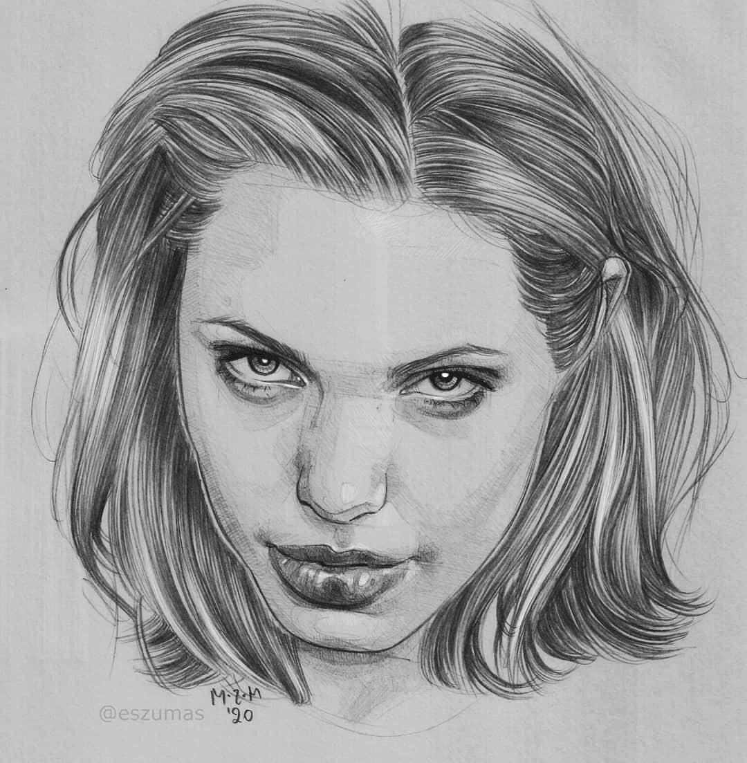 portrait pencil drawing angelina jolie