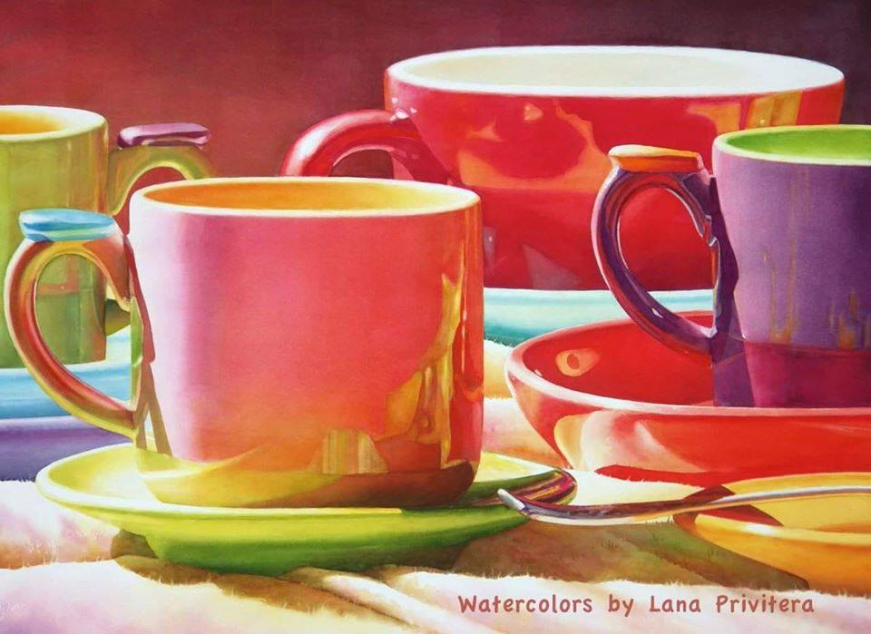 still life watercolor painting teacup